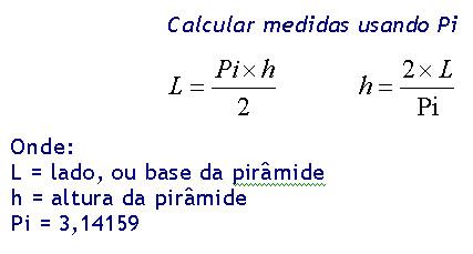 Calcular pirâmides usando Pi