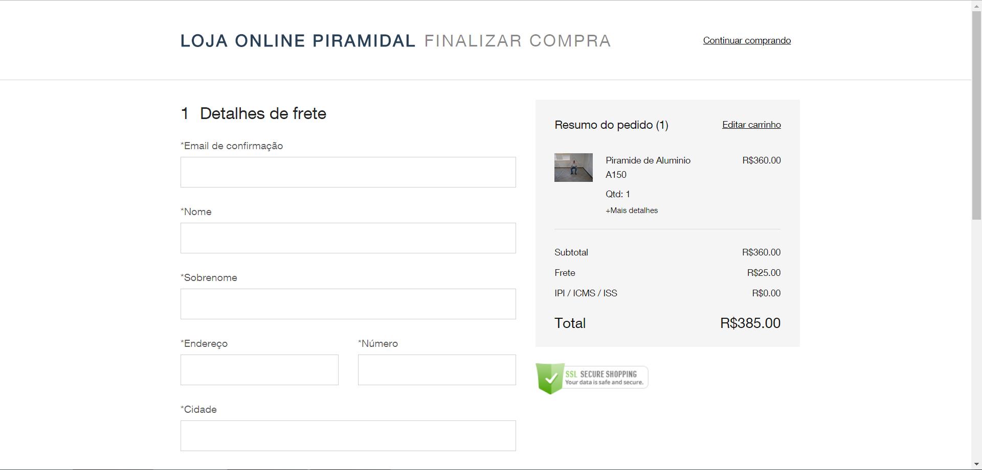 c435eb20b47b 5 • Após clicar no botão Finalizar Compra abrirá outra página para  confirmar seus dados: email, Nome, Endereço para entrega, etc.